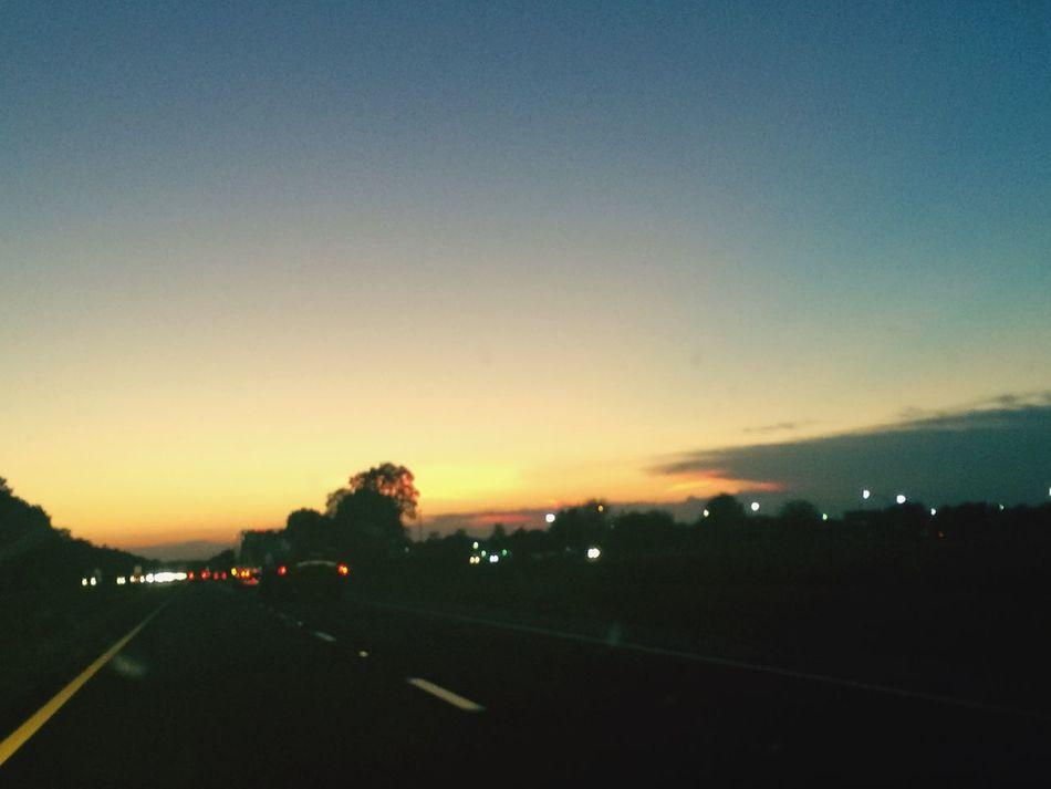 Night sky....... Sunset Evening Sky Headlights Dusk Night Lights Highway Traveling Jacksonville Fl