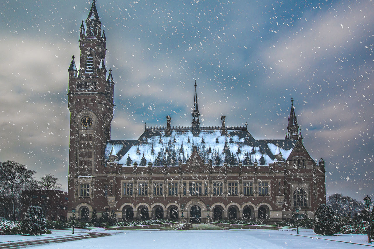 snow, winter, cold temperature, snowing, architecture, weather, history, built structure, religion, building exterior, place of worship, outdoors, snowflake, spirituality, travel destinations, frozen, no people, sky, nature, day, city