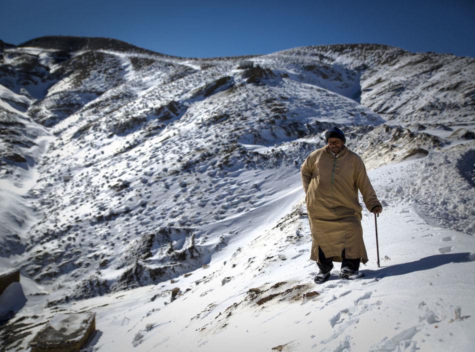 Berber  Mountains Winter Man Old Man Atlas Mountains Morroco Man In The Snow Villiger