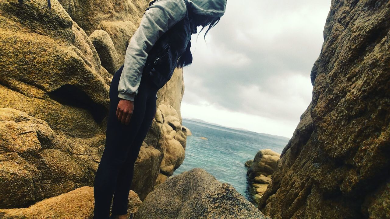 Scenics Day Outdoors Nature Sky Beauty In Nature People One Person Rocks Sea Landscape Perspective Self Portrait Landscape_Collection Sardegna Sardinia Italy