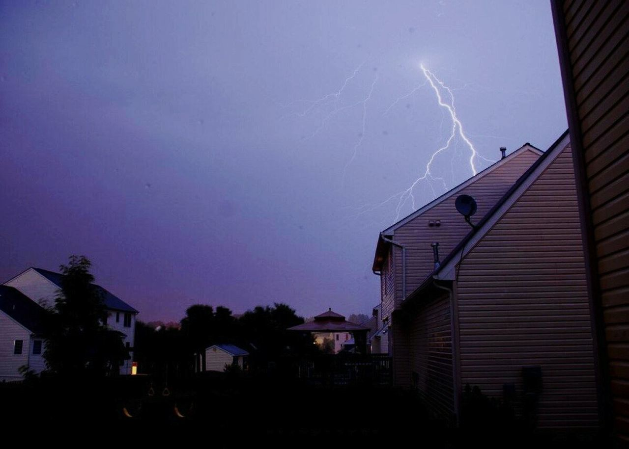 lightning, built structure, power in nature, building exterior, night, architecture, thunderstorm, forked lightning, weather, storm, outdoors, sky, storm cloud, no people, illuminated, nature, city