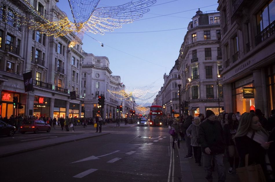 Street Regentstreet Christmas Lights Christmas London Boxing Day Shop People