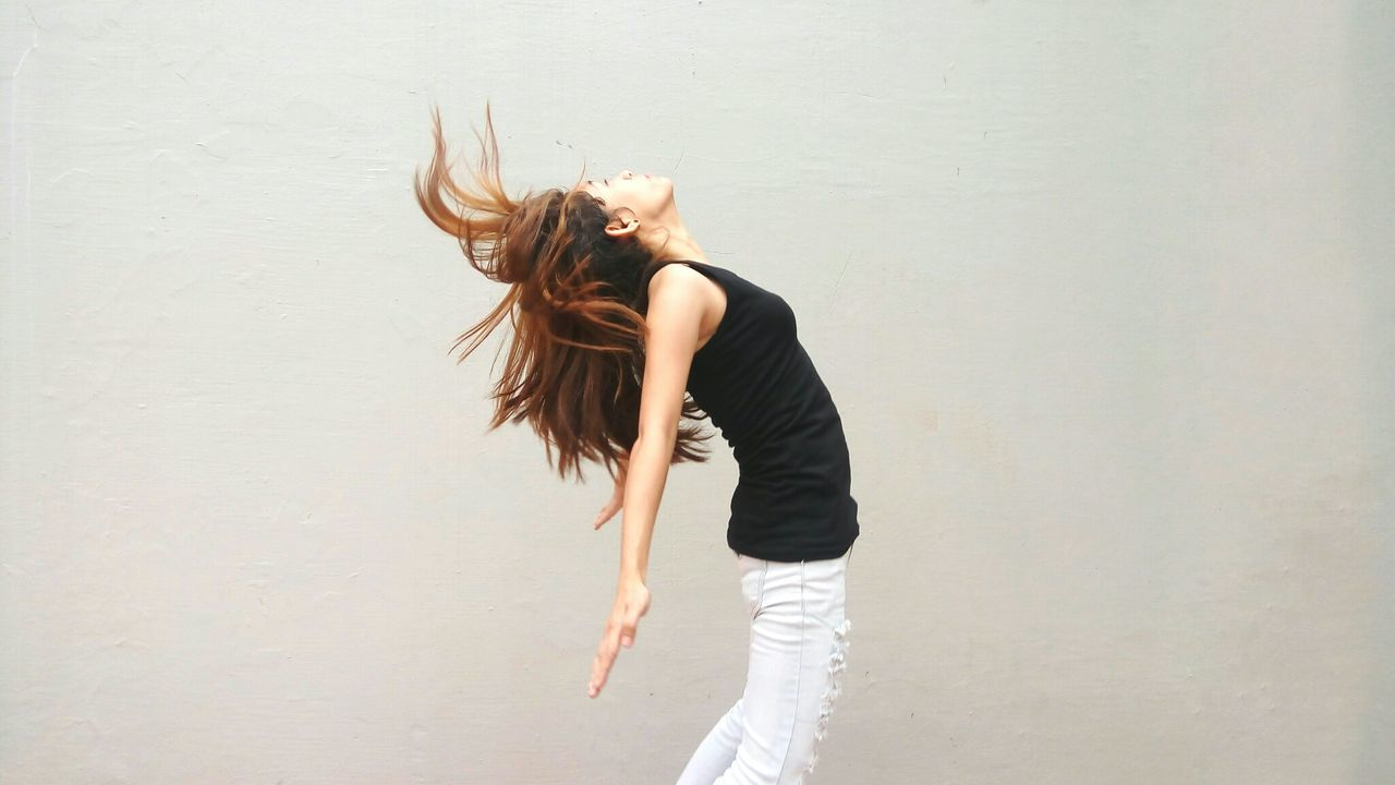 Beautiful stock photos of handy, hair toss, long hair, one person, tousled hair
