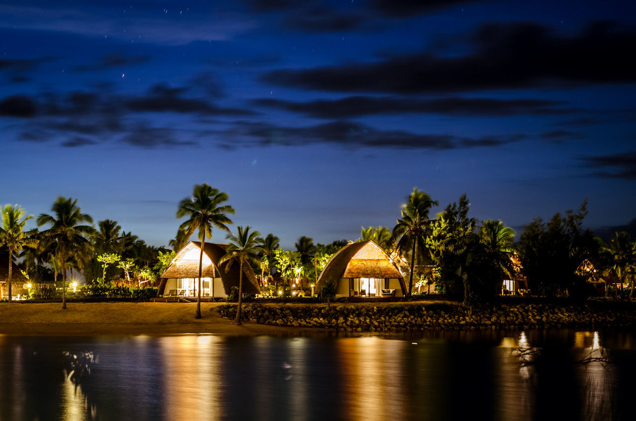 Bures on the blue hour Beauty In Nature Blue Hour Bure Fiji Illuminated Lagoon Nature Night Night Photography No People Outdoors Palm Tree Reflection Scenics Sky Tree Water Waterfront The Great Outdoors - 2017 EyeEm Awards