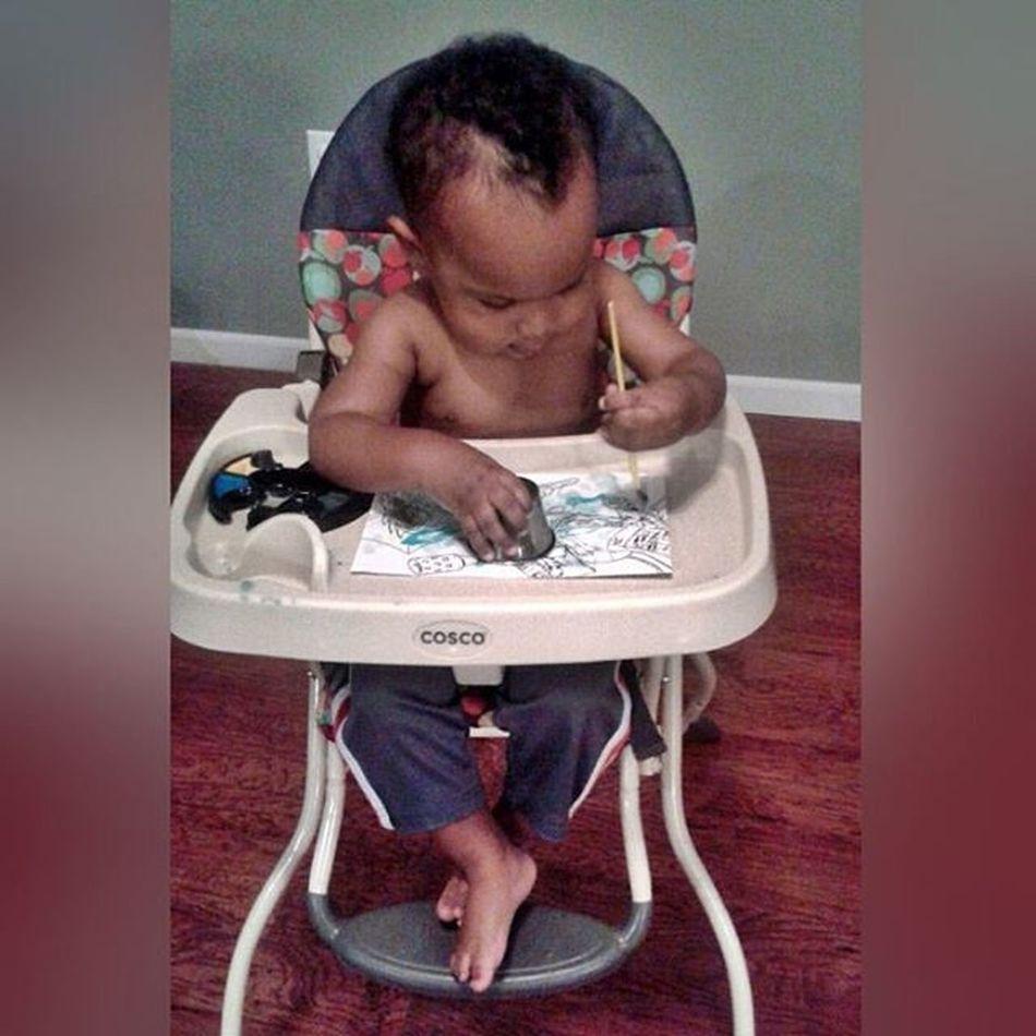 He looks so grown up... 😭 SlowDownBabyBoy SoSweet SitsJustLikeHisDaddy FeetCrossed Sincebirth PaintPlay GameFace Mylestone
