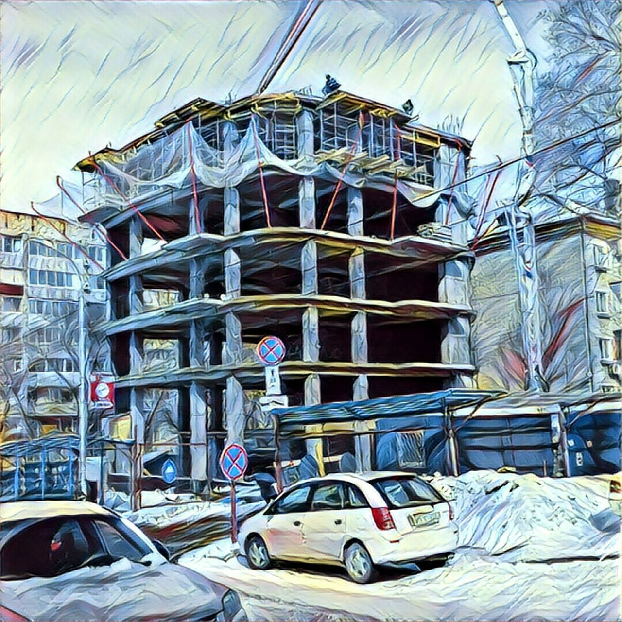Новостройка на ул.Постышева Prismacolor Prisma Prisma Photo Prisma Art Construction Equipment Streetphotography