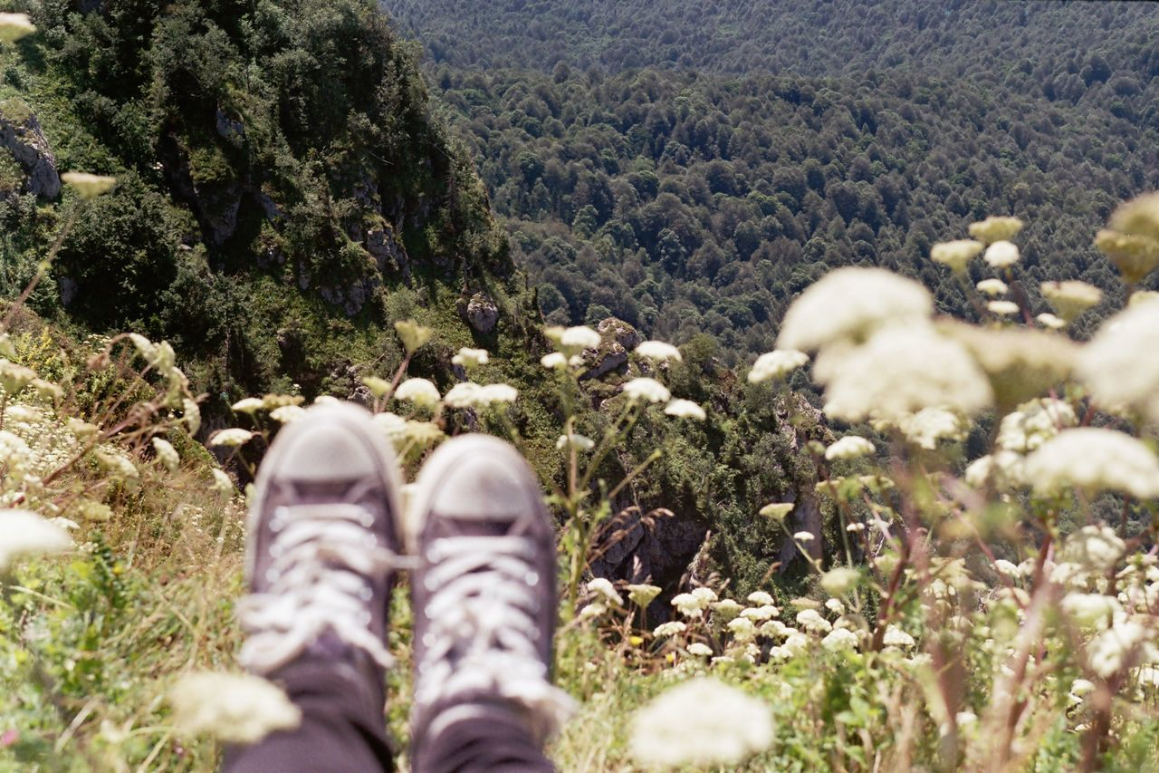 Analogue Analogue Photography Beauty In Nature Day EyeEm Nature Lover Film Photography Growth Hiking Human Body Part Human Leg Khvamli Lifestyles Low Section Mountain Nature One Person Outdoors Personal Perspective Real People Scenics Shoe
