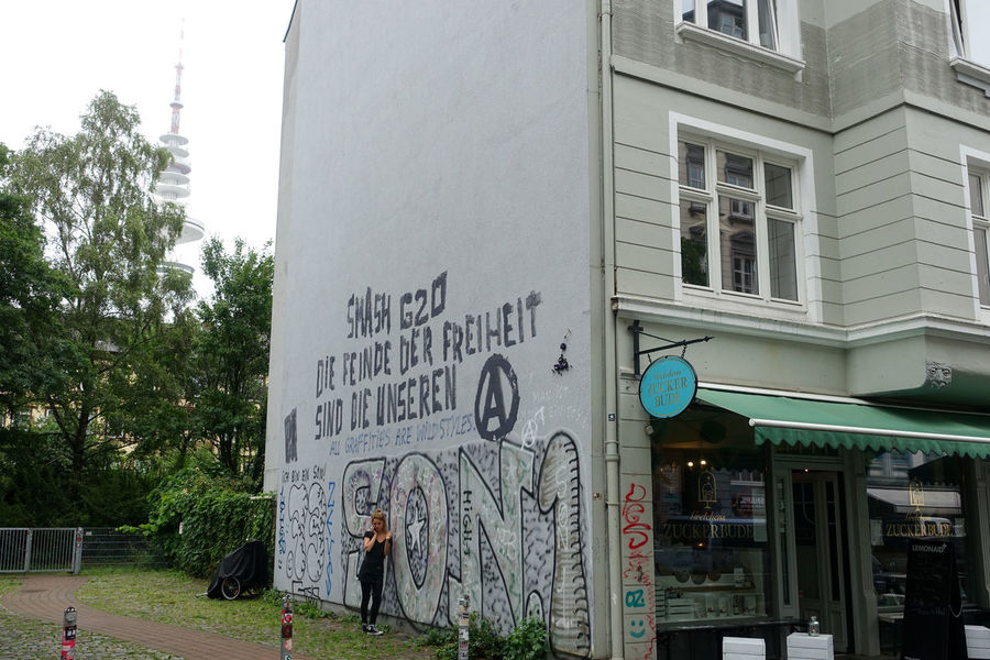 Some non violent impressions from Hamburg G20... Architecture Banner City City Life Communication Day Empty Streets G20 Gipfel G20 Summit German Parolen Graffiti NOG20 Outdoors Protest Shops Signs Slogan