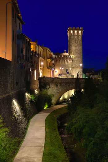 View of the historical center of Umbertide, a historic Italian city. Night landscape of the old town lit with artificial lighting. Architecture Building Exterior Built Structure Castle City History Illuminated Italy Night No People Outdoors Sky Tree Umbertide