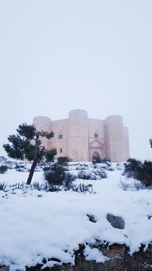 Castello Outdoors Snow Puglia Winter No People Built Structure Cold Temperature Castel Del Monte Business Finance And Industry Fog Medieval Architecture History Old Ruin Architecture Day City Sky Let's Go. Together. EyeEm Selects