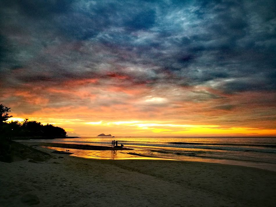 Sunset Sea Beauty In Nature Tranquility Beach Dramatic Sky Scenics Cloud - Sky Pier Water Night Outdoors Vacations Nature Sky Santubong Sarawak People Watching Sunset