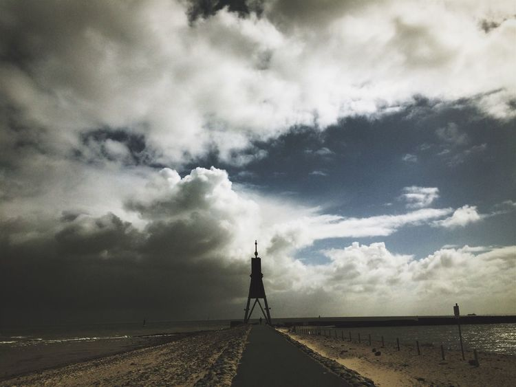 Cloud - Sky Sky Beach Sand Nature Tranquility Outdoors Tranquil Scene Beauty In Nature Scenics Day Sea Landscape Water Horizon Over Water No People Windmill Industrial Windmill Cuxhaven Kugelbake