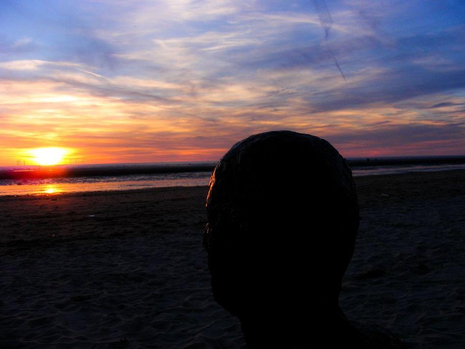 Crosby Beach IronMen Sunset Sky Sand Windfarm Water Sea Horizon Over Water
