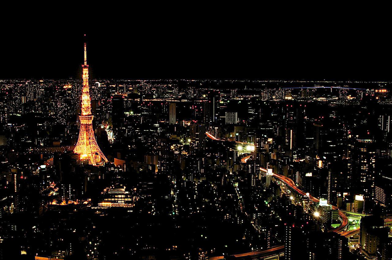 Tokyo Tower Architecture Building Exterior City Cityscape Illuminated Illumination Landmark Night No People Observatory Outdoors Skyscraper Tourist Tower Travel Destinations Urban Skyline