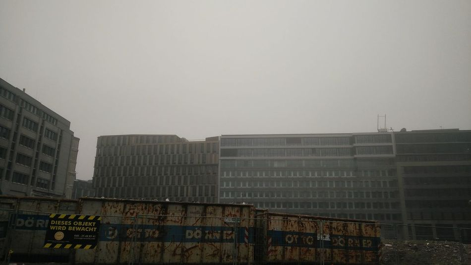 Foggy Construction. · Hamburg Germany 040 Hh Urban Landscape Architecture Buildings Construction Site Containers Foggy Cloudy Moody Clouds And Sky