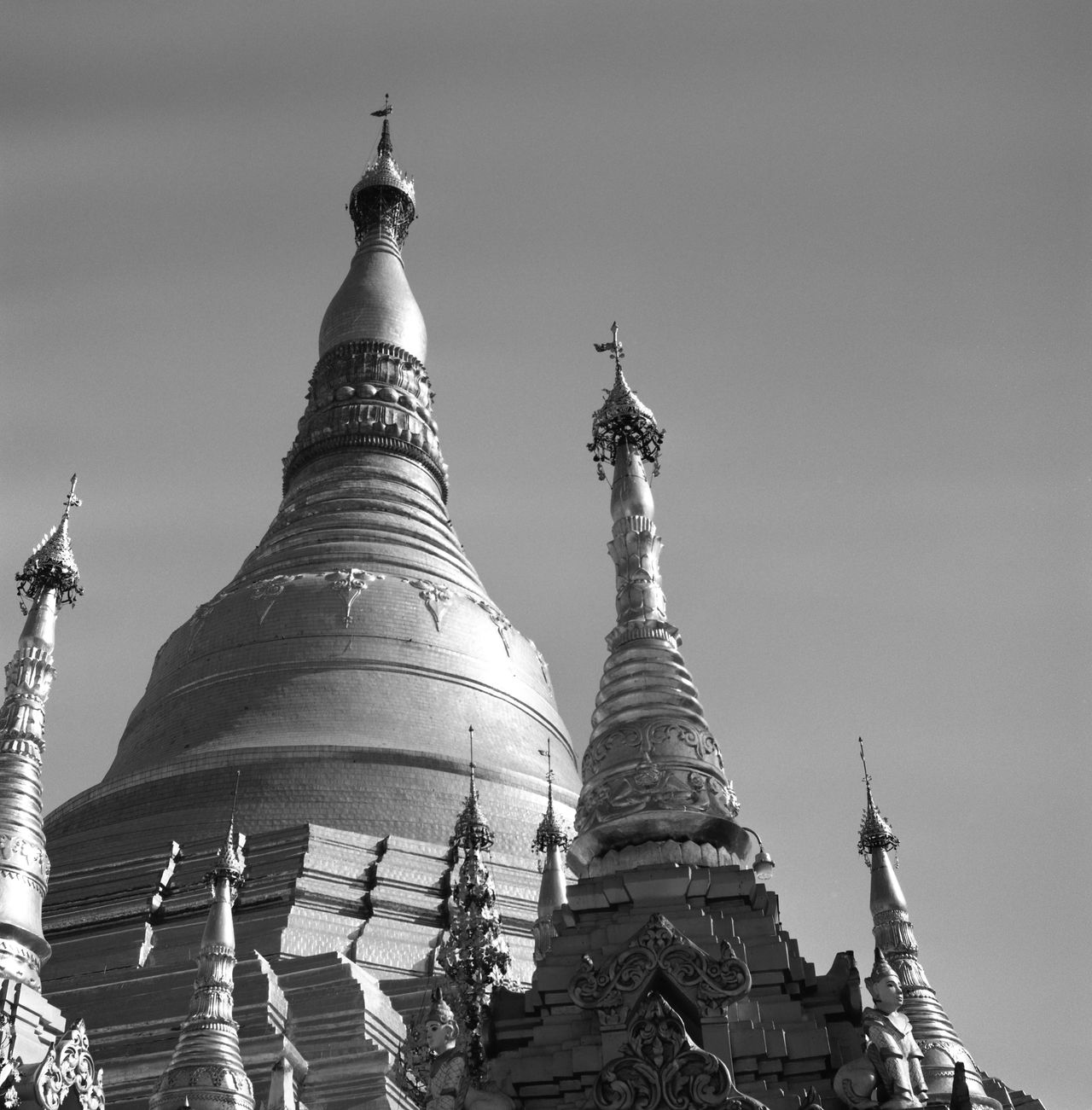 Architectural Detail Architecture Architecture_bw Architecture_collection Blackandwhite Buddha Buddhism Buddhist Temple Building Exterior Buildings Buildings & Sky Built Structure Cultures Film Film Photography Fujifilm Low Angle View Monochrome Myanmar Outdoors Pagoda Place Of Worship Religion Sky Spirituality