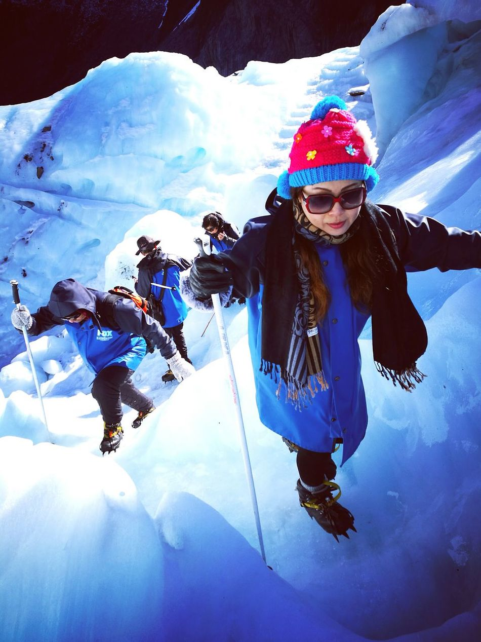 The Color Of Sport Hiking Winter Glacier Cold Temperature Leisure Activity Ice Blue Fox Glacier