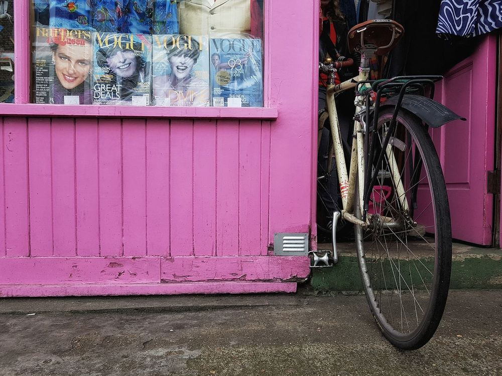 Bike in vogue Bycicle Shop Shop Window Vintage Shop Shop Front Store Front Magazine Cover Magazine Vogue Vintage Vogue Pink Pink Color Street Photography Parked Bycicle
