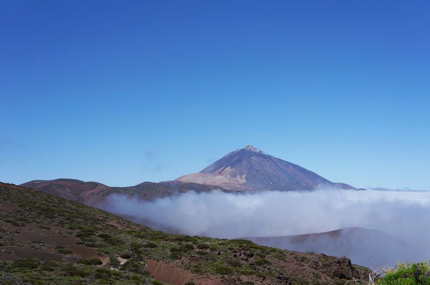 Blue Landscape Mountain No People Clear Sky Outdoors Snow Beauty In Nature Day Vacations Tranquility Tenerife Beauty In Nature Cloud - Sky Nature Sky Scenics Travel Destinations Travel Volcano Over The Clouds