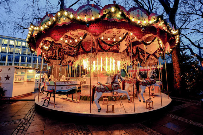 Amusement Park Ride Carousel Christmas Market Fairground Horses Tradition