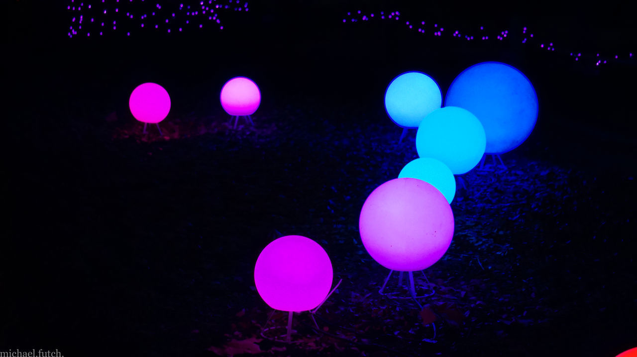 Bokehlicious Christmas Decorations Christmas Lights Colors EyeEm Nightscape Focus On Foreground Glow Illuminated Low Angle View Night Lights Night Photography Night Shot Soft Grunge Spheres