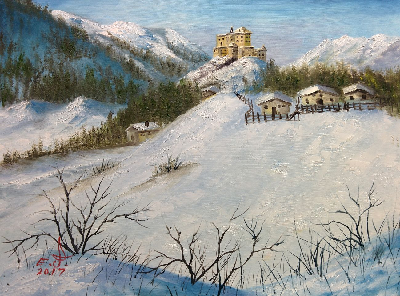 "Tarasp Castle, Switzerland ,oil on canvas 16""_24"" Snow ❄ Day Architecture Nature Outdoors My Landscape Collection. Fine Art Original Art ArtWork Art, Drawing, Creativity Drawing Oil Painting With3XSPUnity My Art Collection Tranquil Scene Scenics Tranquility Landscape My Best Friends ❤ Tower Historical Buildings Fredom Friendship. ♡   Love♥ Koi. With"