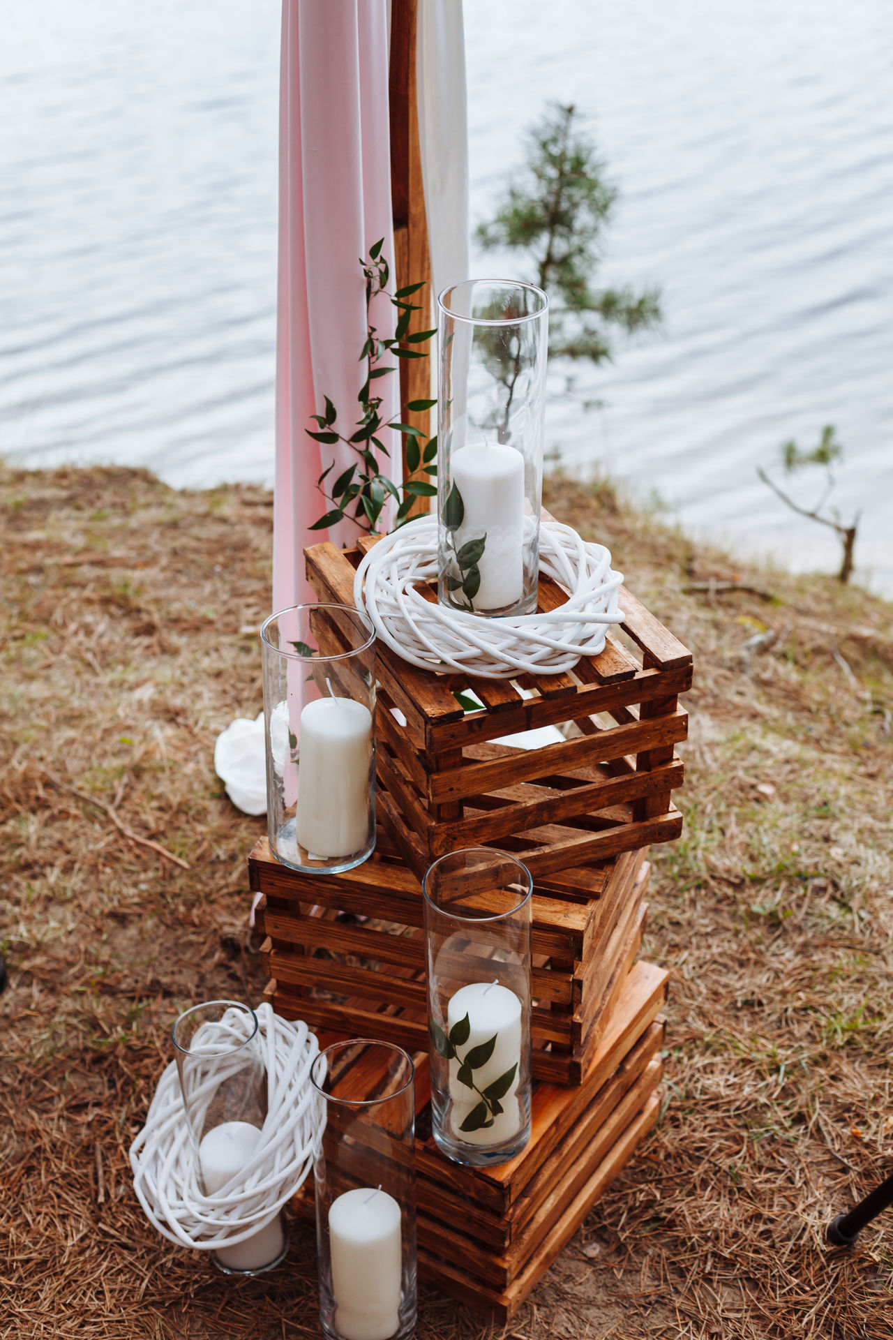 Close-up Day Decor Decoration Grass No People Outdoors Rustic Rustic Style Tree Water Wedding Ceremony