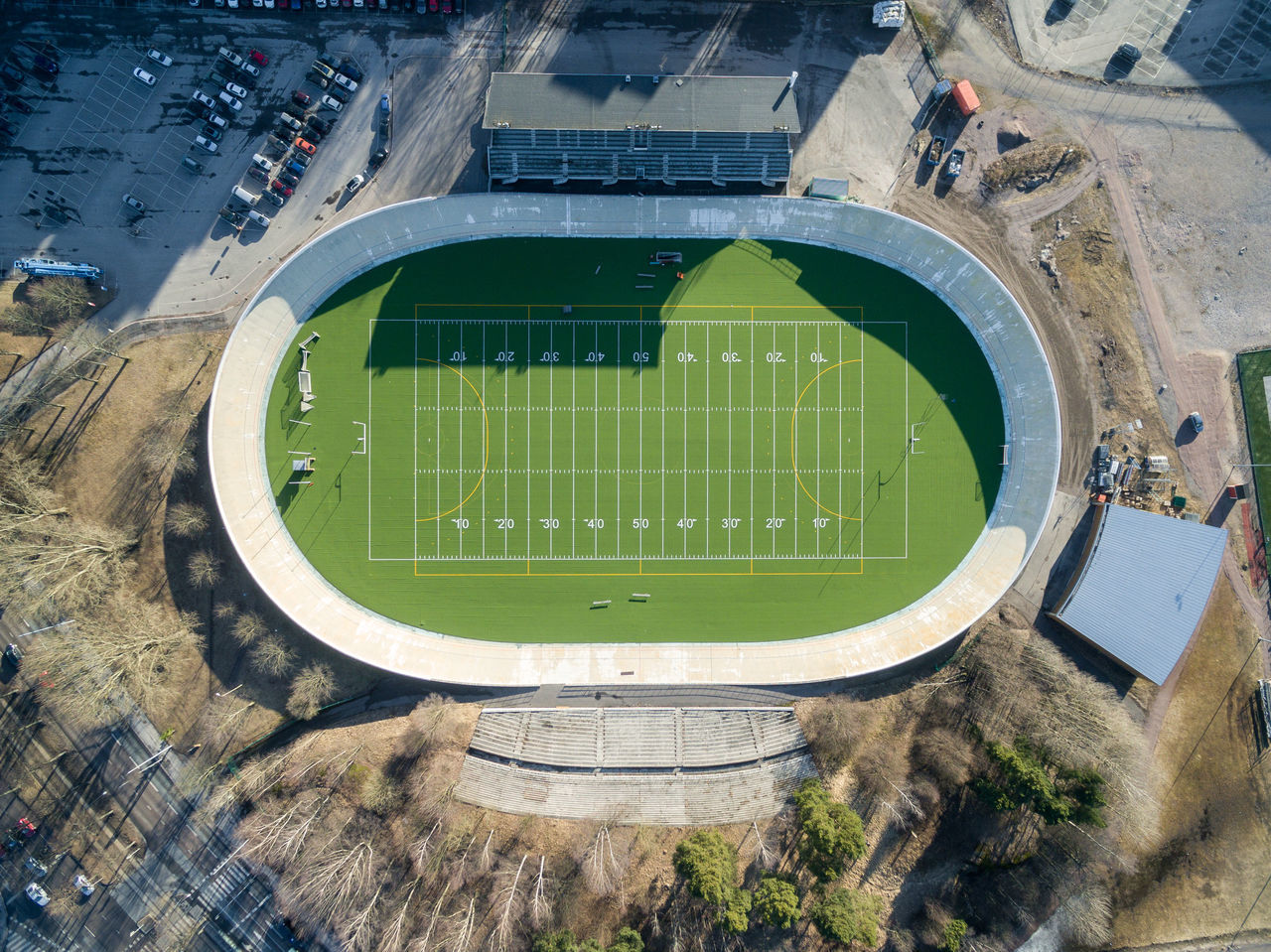 Architecture Building Exterior Built Structure Day Drone  Finland From Above  Grass Green Color Helsinki High Angle View No People Outdoors Playing Field Soccer Field Sport Stadium Top Perspective