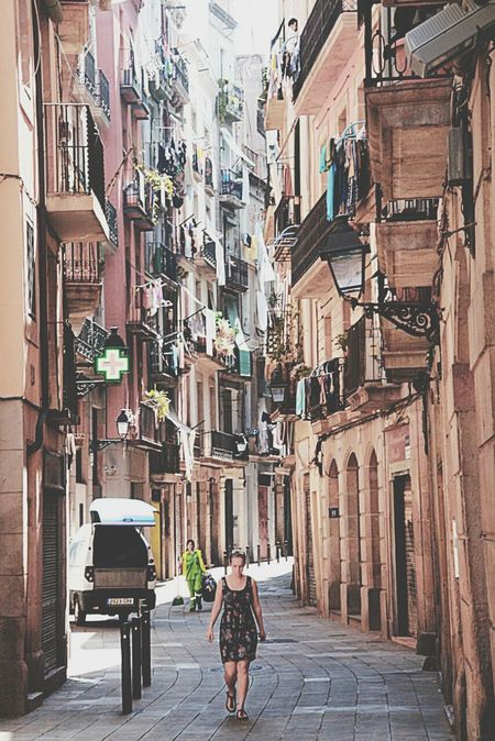 Walking Girl An Alley Architecture Street Photography Travel Photography Barcelona SPAIN