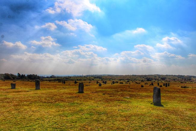 Standing Stones Cornwall England United Kingdom Sky The Hurlers