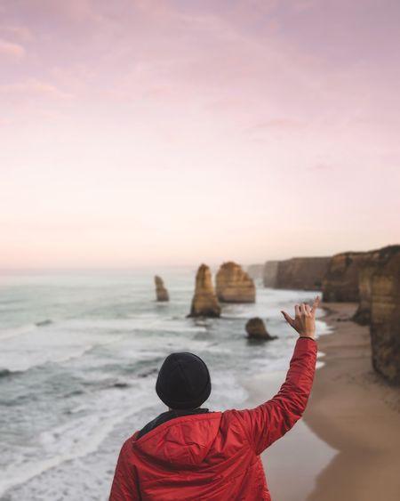 Color Palette Colour Of Life Tourism Tourist Attraction  Australia Coastline Sea Beach Hang Ten Red Jacket Beanie Melbourne Outdoors Adventure People And Places