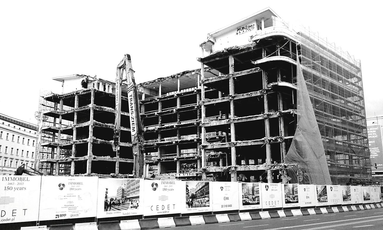 Destruction Demolition Blackandwhite TearingDown Squeleton Future Warszawa  Looking Into The Future