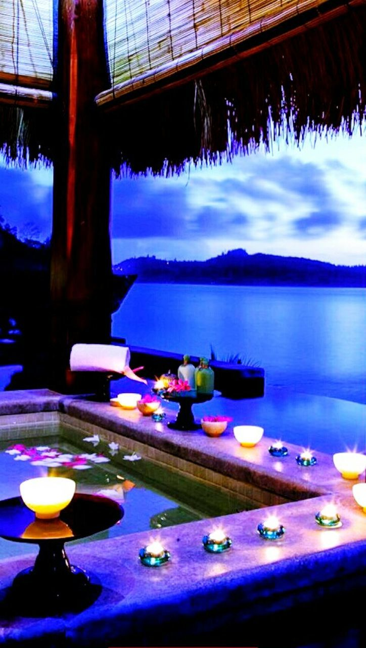 night, illuminated, water, candle, no people, table, outdoors, sky, nature