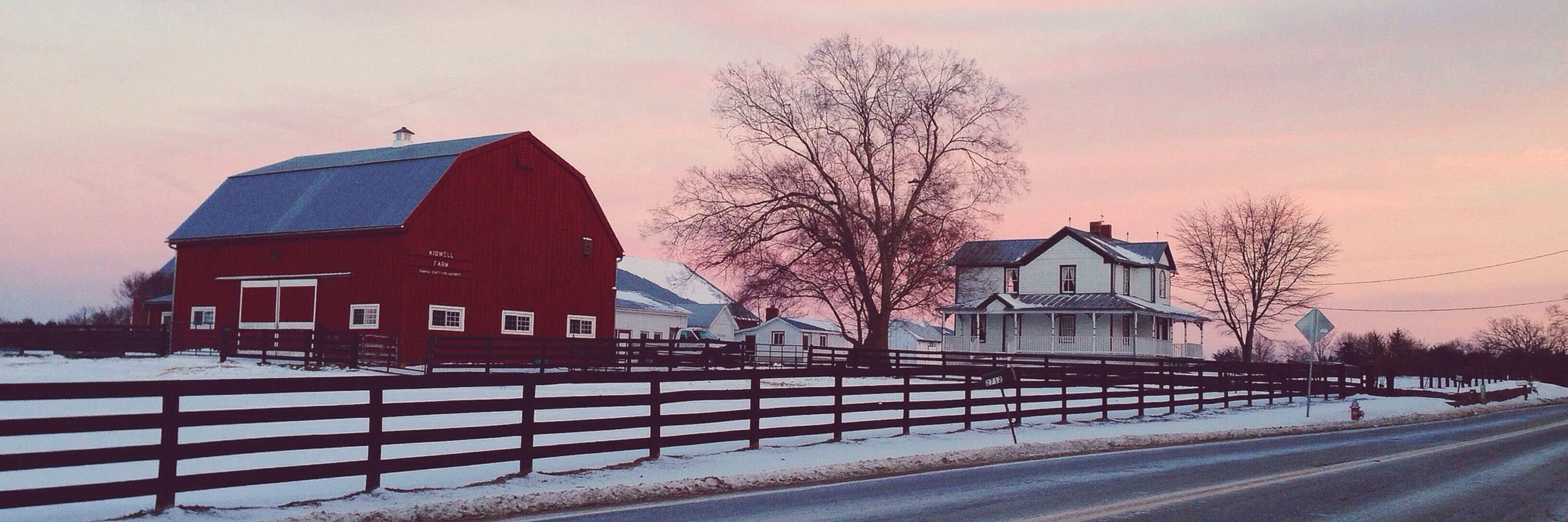 snow, winter, bare tree, cold temperature, building exterior, architecture, built structure, season, sunset, sky, weather, tree, covering, house, transportation, road, orange color, nature, street, outdoors
