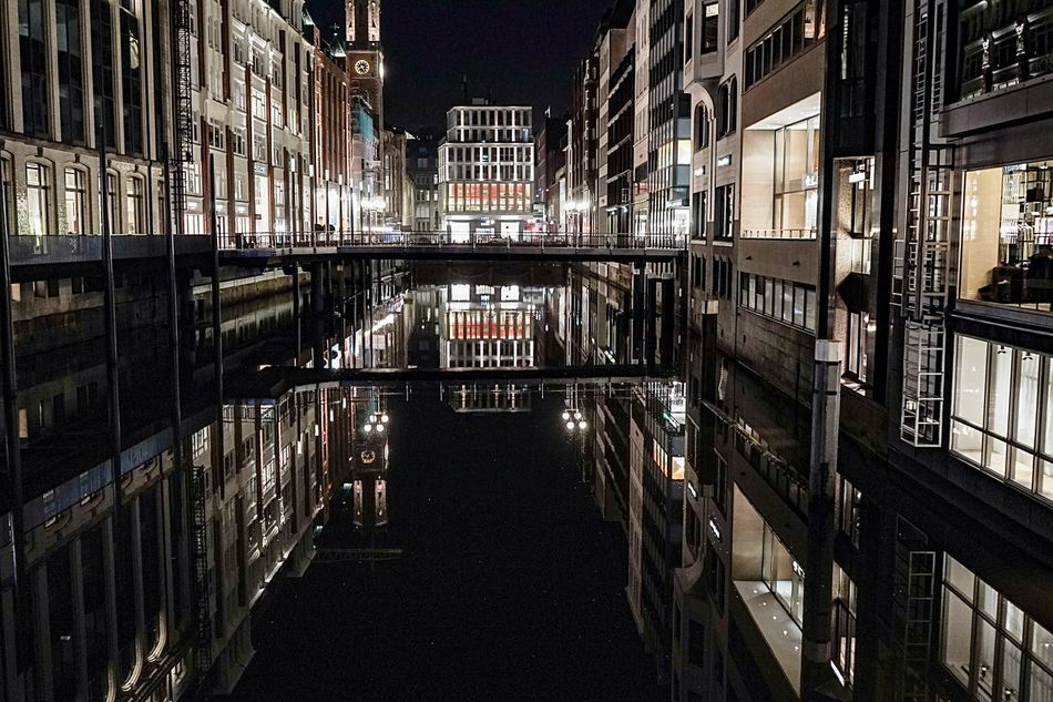 City Building Exterior Architecture Built Structure No People Night Illuminated Outdoors Night Lights Night Photography Fleet Canals And Waterways Reflection Calm Water City Center Empty Road The City Light