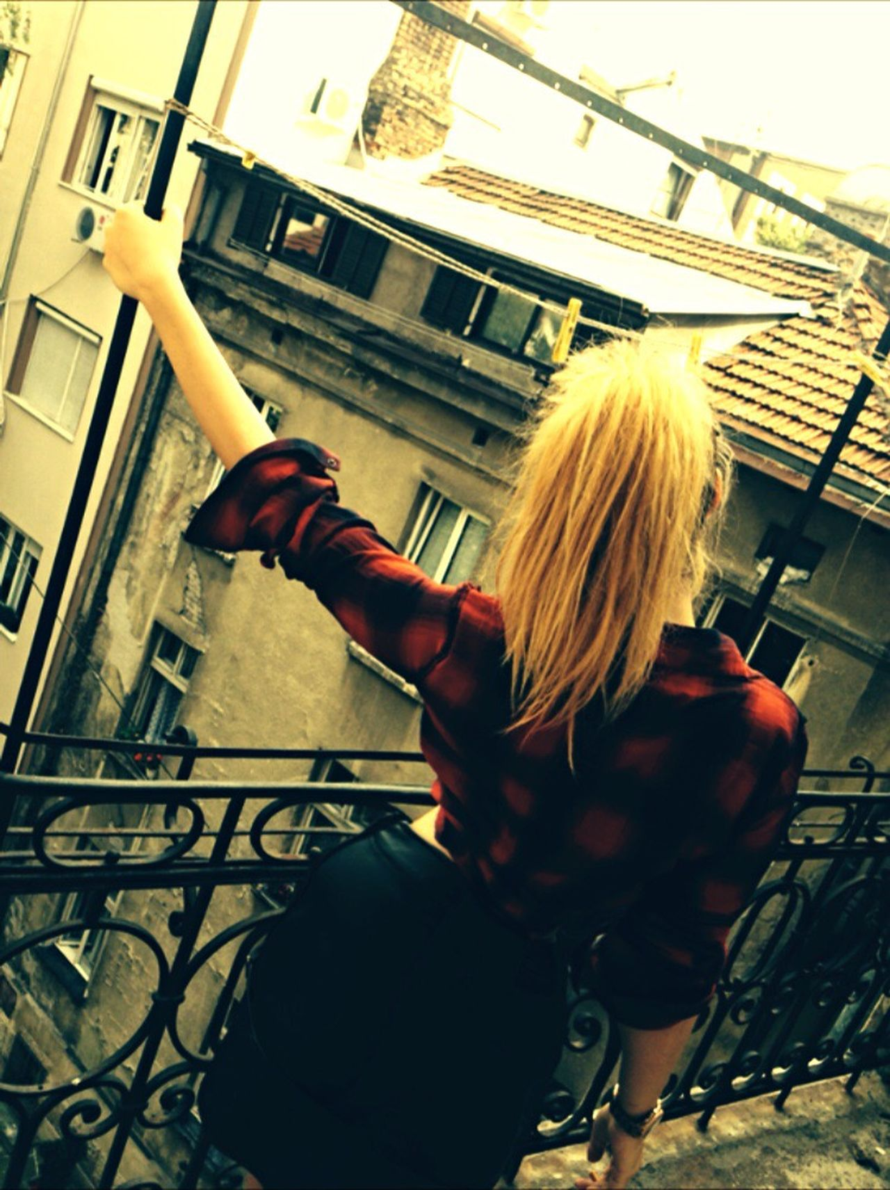 Blonde Girl Blondedays Me Terrace Art Vintage Blond Hair Low Angle View Lifestyles Young Adult Women One Person Social Issues Built Structure Young Women Architecture Indoors  One Young Woman Only Only Women Adult People Adults Only Day Teen