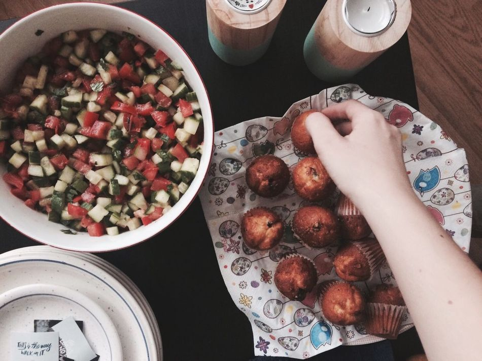 Food And Drink Human Hand Bowl Human Body Part Food Freshness Real People One Person Indoors  High Angle View Directly Above Container Table Holding Lifestyles Ready-to-eat Fruit Plate Sweet Food Healthy Eating Easter Dinner Dinnertime Jewish Food Jewish