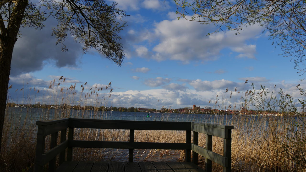 nature, sky, lake, tranquility, beauty in nature, water, tree, tranquil scene, outdoors, cloud - sky, scenics, day, no people