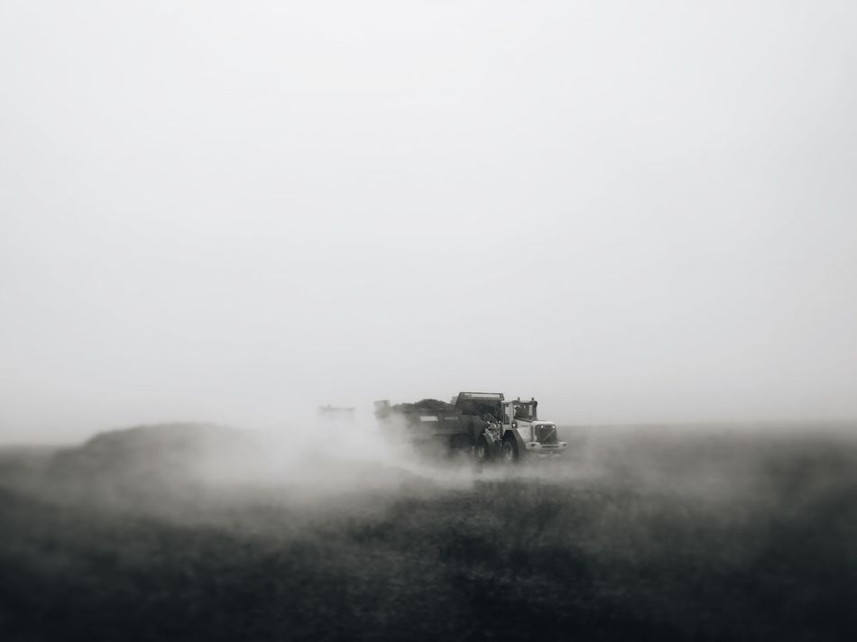 Landscape Hazy  Monochrome Combine Harvester Outdoors Black And White Bw_collection