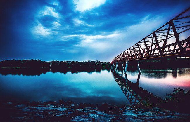 Singapore Bridge Clouds Gloomy Weather River Lorong Halus