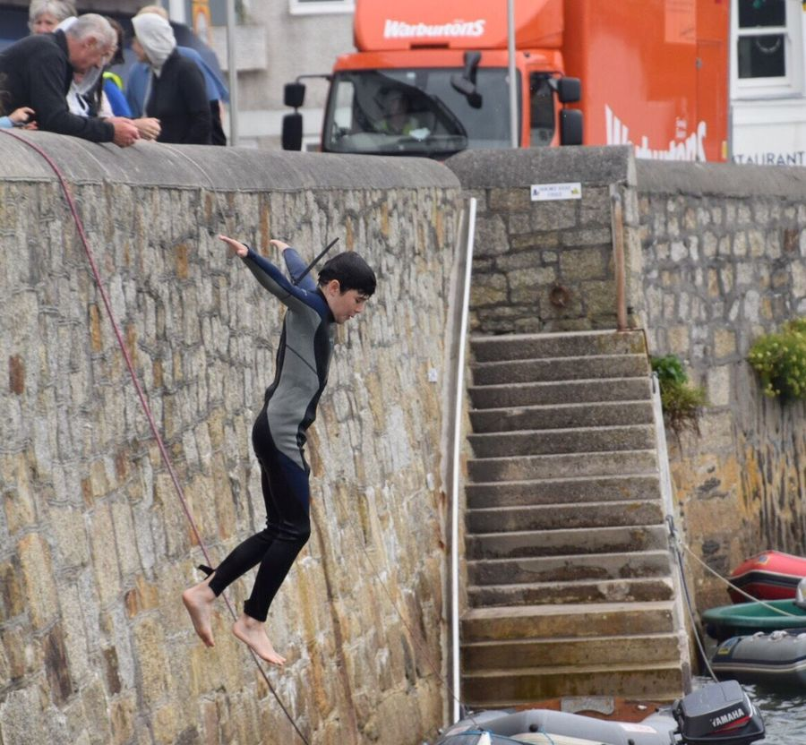 Harbour Wall Jumping Harbour Wall St Mawes Harbour Sea Swimming Cornwall Uk Childhood Sea Steps Outdoors Full Length One Person Day Architecture Young Adult People