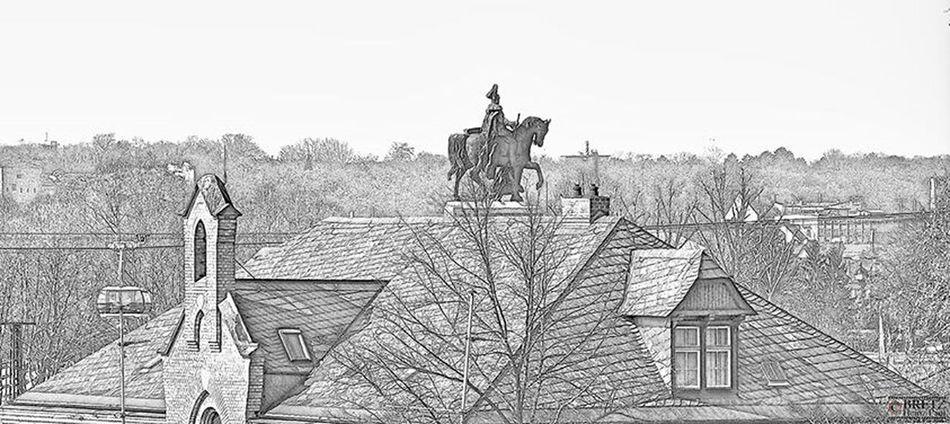 Da steht ein Pferd auf dem Dach... Ehrenbreitstein Koblenz Deutsches Eck Digiart Black And White Blackandwhite Black & White Monochrome