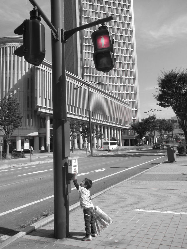 Black & White Building Button City Kid Push Red Light Road Spot Color Street Trafic Lights