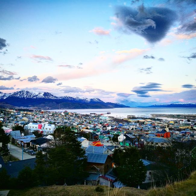 Water High Angle View Cloud - Sky Sky Mountain Nature Sea City Life No People Scenics Ushuaia Argentina Fin Del Mundo Argentina 👑🎉🎊👌😚😍 Argentina Ushuaïa Argentina Photography TakeoverContrast