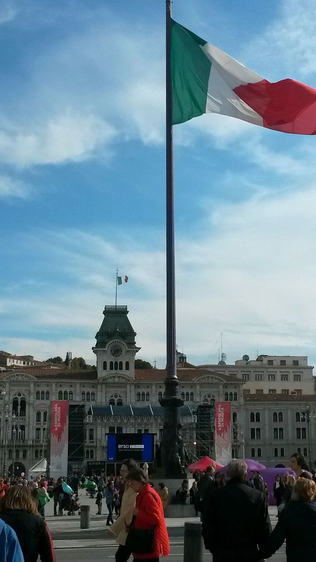 Architecture Building Exterior Flag Sky Person Cloud - Sky National Flag Crowd Piazza Unità Urban Photography Main Square Italy Flag Barcolana2016