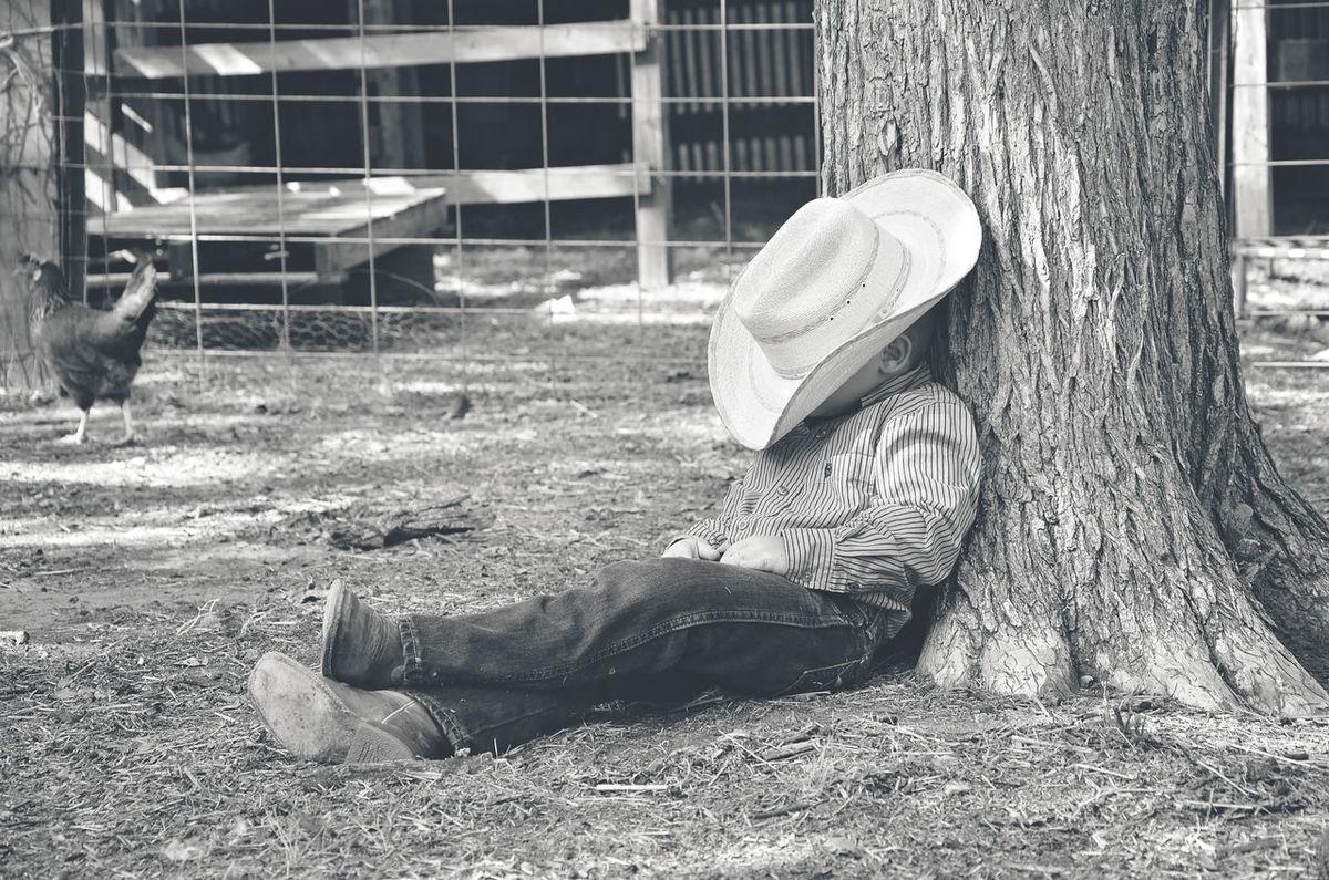 Country Life Cowboy Farm Farm Life Little Boy Little Cowboy Resting Tree Trunk