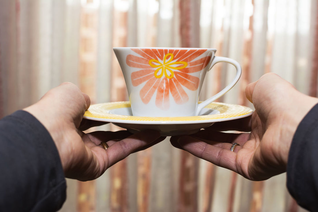 Attractive Beverage Beverages Coffee Cup Drink Female Focus Girl Give Giving Glass Hand Hot Offer Offering Person Pretty Relax Serve Tea TeaCup Woman