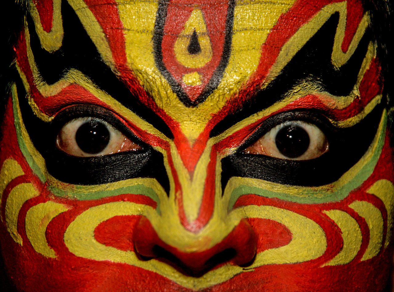 Multi Colored Close-up Eye Vibrant Color Folk Performance Stage Artistic Artist Art Kathakali Makeup Dance Face Abstract India Traditional Adult Cultures Portrait Face Paint Human Eye Yellow Looking At Camera Creative