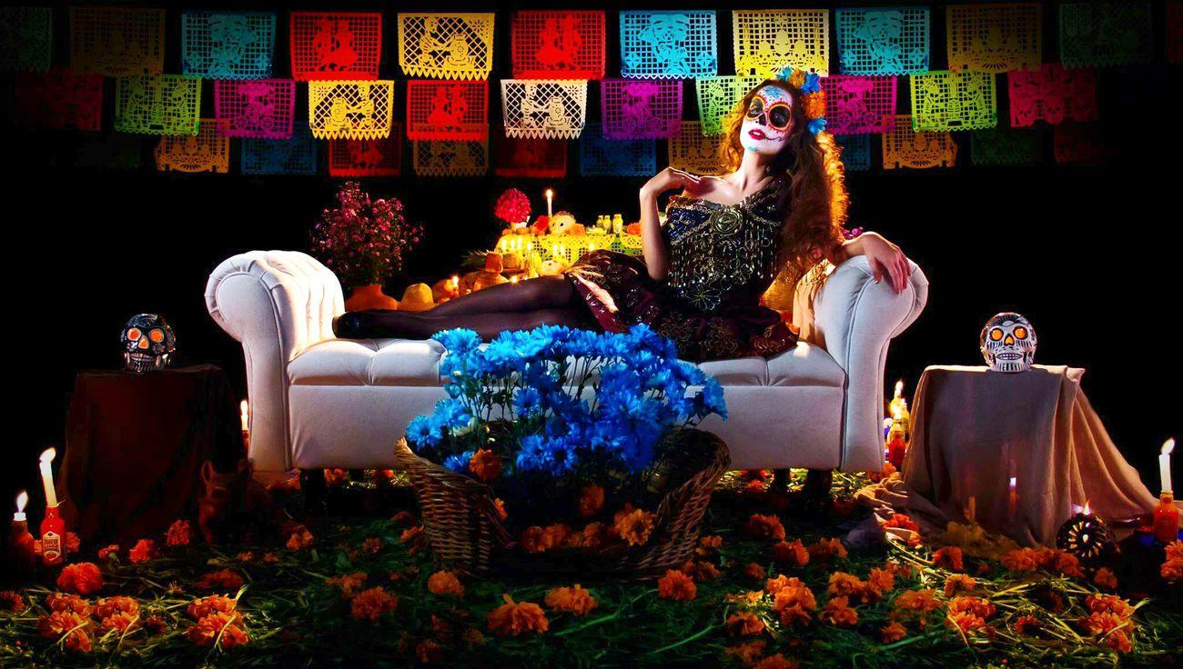 Women Glamour Dıa De Muertos Fashion Photography Mask - DisguiseFashion Celebration One Person Catrina Catrinamakeup People