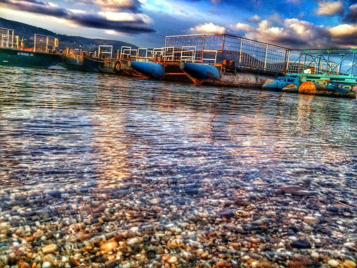 River Wasser Dock Port Sky Clouds Visegrad